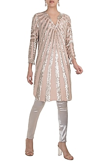 Blush Pink Embroidered Fringe Tunic by Manish Malhotra