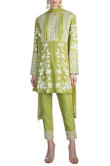 Pista Green Embroidered Kurta Set by Manish Malhotra