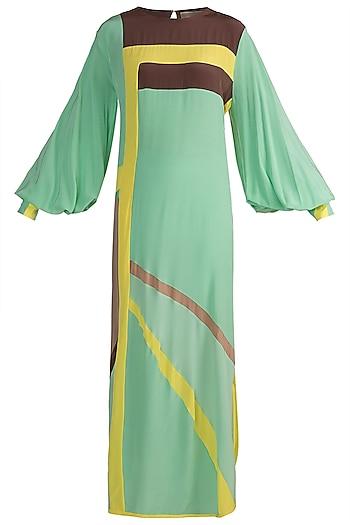 Mint Green Color Blocked Tunic by Manish Malhotra