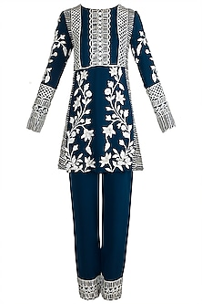 Cobalt blue Embroidered Kurta Set by Manish Malhotra