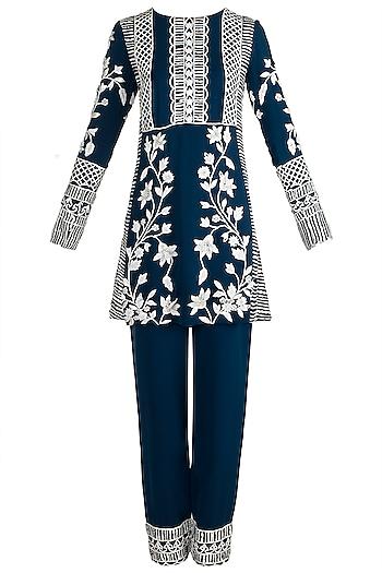 Cobalt blue Embroidered Kurta Set by Manish Malhotra