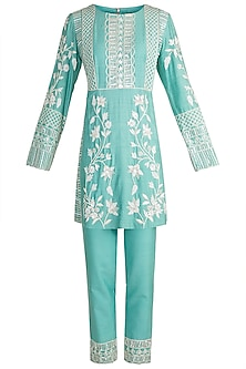 Aqua Blue Embroidered Kurta Set by Manish Malhotra