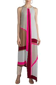 Grey Color Blocked Tunic by Manish Malhotra