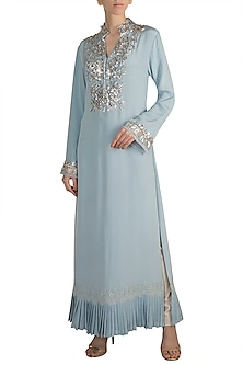 Aqua Blue Embroidered Tunic by Manish Malhotra