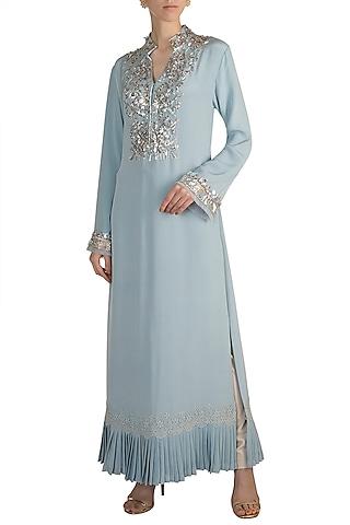 Aqua Blue Embroidered Tunic by Manish Malhotra