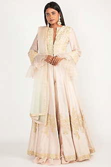 Peach Embroidered Anarkali Set by Manish Malhotra