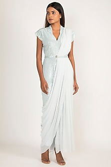 Aqua Blue Embroidered Jumpsuit With Drape & Belt by Manish Malhotra