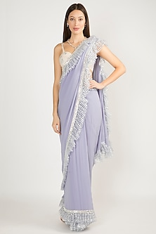 Lavender Embroidered Frill Saree Set by Manish Malhotra