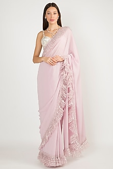 Lilac Embroidered Frill Saree Set by Manish Malhotra