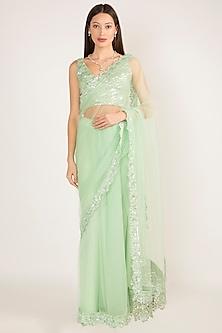 Mint Green Net Embroidered Saree Set by Manish Malhotra