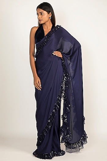 Navy Blue Embroidered Frill Saree Set by Manish Malhotra