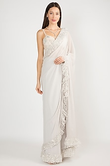 Grey Embroidered Frill Saree Set by Manish Malhotra