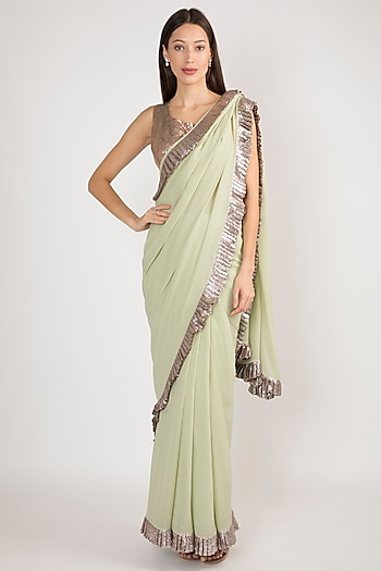 Mint Green Embroidered Saree Set by Manish Malhotra