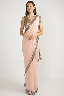 Peach Embroidered Saree Set by Manish Malhotra
