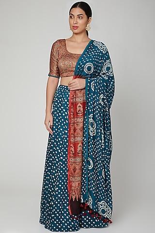 Cobalt Blue Bandhani Printed Lehenga Set by Manmeera