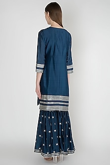 Midnight Blue Embroidered Sharara Set by Manmeera