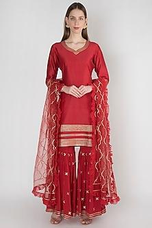 Red Embroidered Sharara Set by Manmeera
