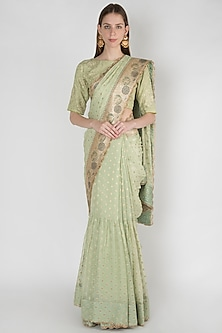Lime Green Embroidered Lehenga Saree Set by Manmeera