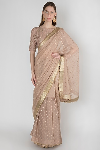 Onion Pink Embroidered Lehenga Saree Set by Manmeera