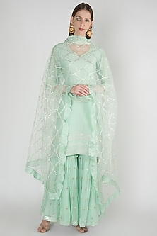 Light Blue Embroidered Sharara Set by Manmeera