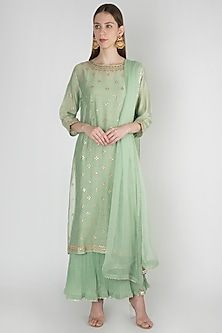 Pista Green Crinkled Embroidered Kurta Set by Manmeera-EDITOR'S PICK
