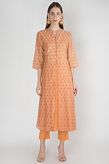 Orange Embroidered Kurta With Pants by Manmeera