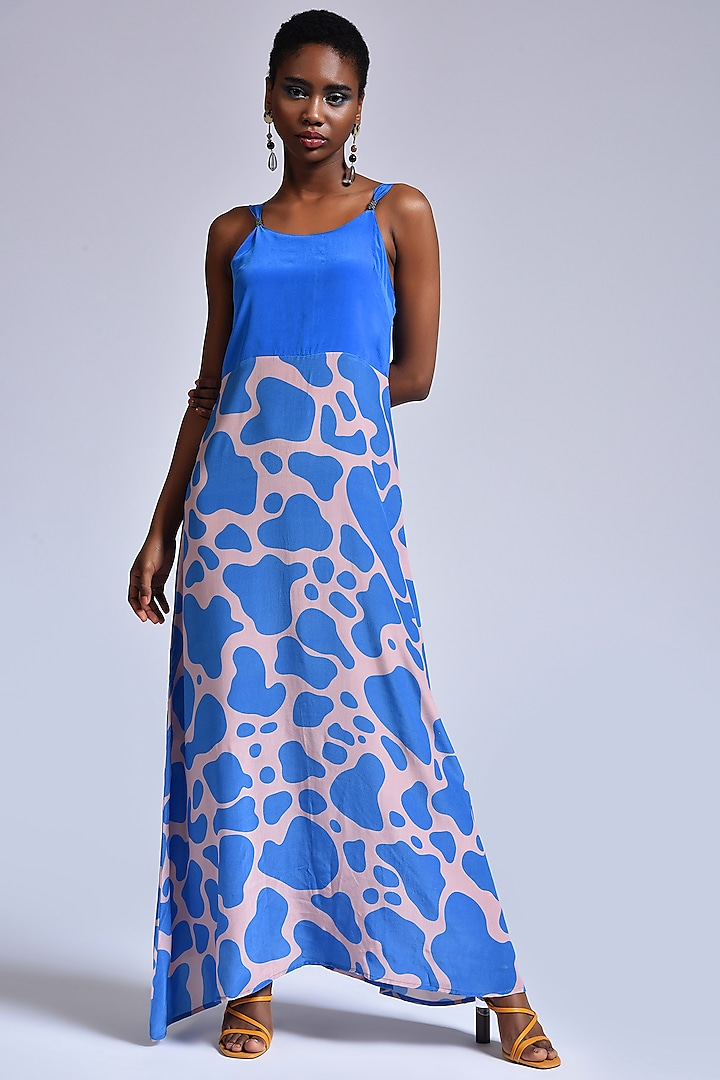 Dusty Pink & Fresh Blue Slip Dress by Marichi