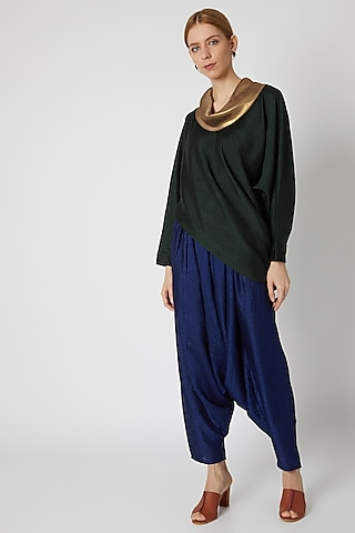 Bottle Green Draped Top by Mayank Anand & Shraddha Nigam