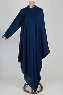 Blue Asymmetric High Neck Tunic by Mayank Anand & Shraddha Nigam