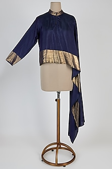 Blue Silk Asymmetric Top by Mayank Anand & Shraddha Nigam
