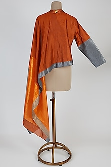 Orange & Grey Collared Top by Mayank Anand & Shraddha Nigam
