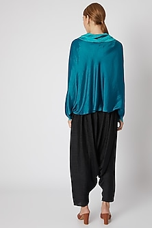 Blue Tie-Neck Top With Pants by Mayank Anand & Shraddha Nigam