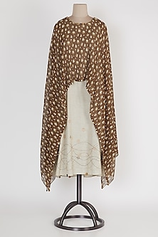 Brown & Beige Poncho Dress by Mayank Anand & Shraddha Nigam