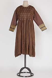 Dark Brown Pleated Dress by Mayank Anand & Shraddha Nigam