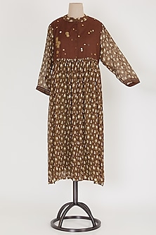 Dark Brown & Green Tunic With Inner by Mayank Anand & Shraddha Nigam