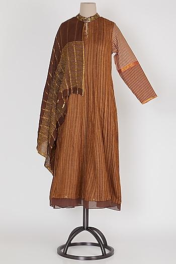 Dark Brown & Gold Panelled Dress by Mayank Anand & Shraddha Nigam