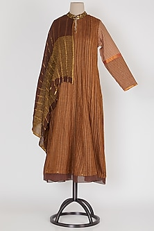 Dark Brown & Gold Panelled Dress by Mayank Anand & Shraddha Nigam