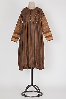 Dark Brown Pleated Tack Dress by Mayank Anand & Shraddha Nigam