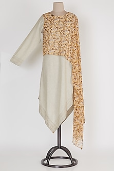 Brown & Beige Draped Lopsided Tunic by Mayank Anand & Shraddha Nigam
