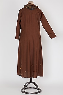 Dark Brown Panelled Tunic by Mayank Anand & Shraddha Nigam