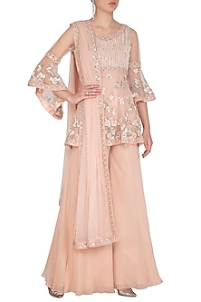 Light Peach Embroidered Sharara Set by Mansi Malhotra