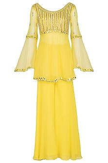 Canary Yellow Embroidered Sharara Set by Mansi Malhotra