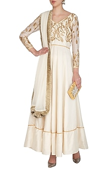 Ivory Embroidered Anarkali Set by Mansi Malhotra