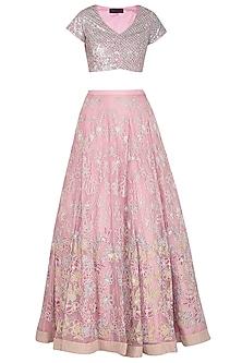 Pink Embroidered Lehenga Set by Mansi Malhotra