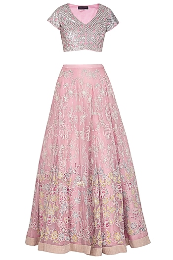 Pink Embroidered Lehenga Set by Mansi Malhotra