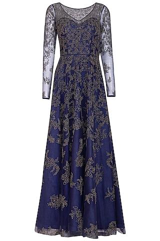 Cobalt Blue Embroidery Anarkali Set by Mansi Malhotra