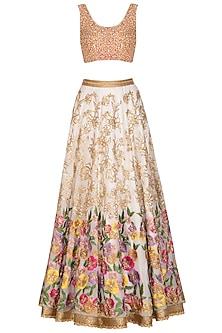 Off White Embroidered Lehenga Set by Mansi Malhotra