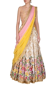Off White Embroidered Lehenga Set by Mansi Malhotra