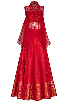 Scarlet Red Embroidered Lehenga Set With Jacket by Mansi Malhotra