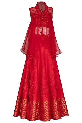 Scarlet Red Embroidered Lehenga Set With Jacket by Mansi Malhotra